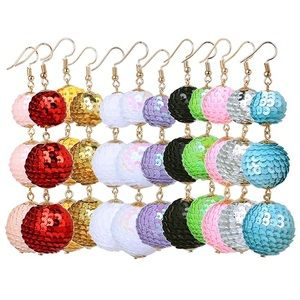 Jewelry - White Sequin Wrapped Drop Ball Earrings